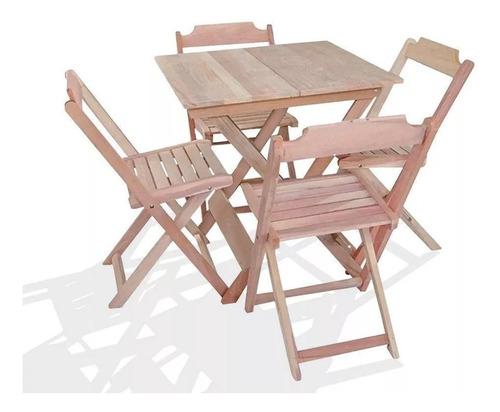 Mesa Com 4 Cadeiras  Madeira Dobrável Bar 70cm X 70cm Crú (s