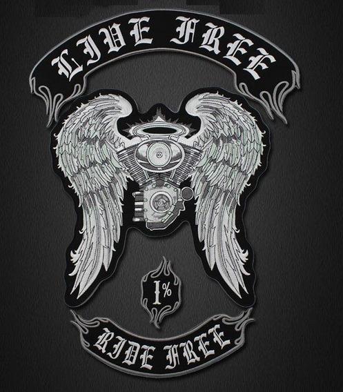 4 Patches Bordados Motociclista Jaqueta Live Free Ride Free