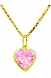 Pingente Coração Rosa + Corrente De Ouro Puro 750 G01