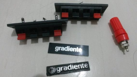 Kit Plug P2 / P10 Conector Tomada Borne + Logo Gradiente