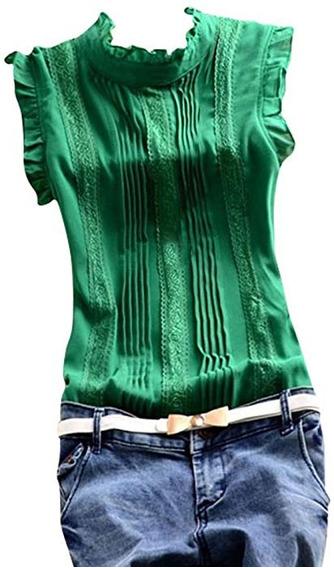 Elegante Camisa Verde Blanca Mujer Nueva Importada