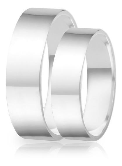 Alianças De Namoro Prata 950 Polida Reta 6.0 Mm
