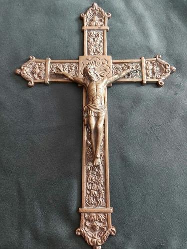 Antiguo Crucifijo De Bronce Macizo Grande 37 X 25 Cms.