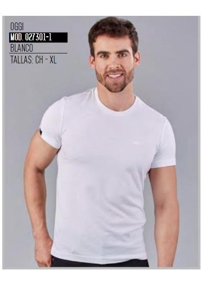 Playera Top Hombre Blanco Cuello Redondo 027301-1 Oggi 2-19 H