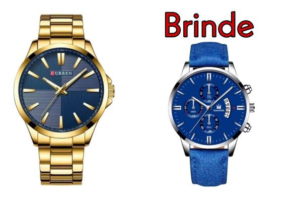 Relógios Masculino Curren Aço Dourado 8322 + Brinde