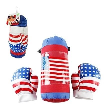 Saco Pancada Couro Luvas Poliester Infantil Box Soco Kit Com