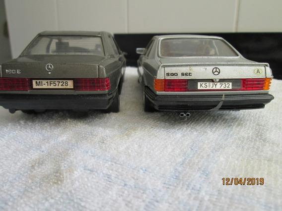 Miniatura Lote 1\24 Burago Mercedes Bens 190 E + 500 Sec