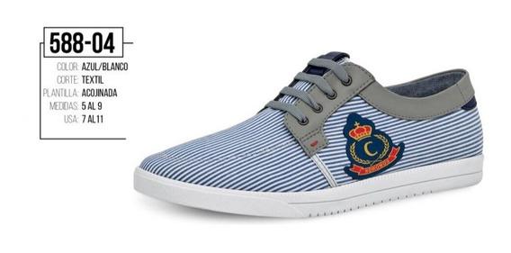 Tenis Color Azul/blanco Con Agujeta 588-04 Cklass Ck1
