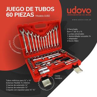 Juego De Tubos Y Llave (1/2 - 1/4 ) Udovo - 60 Piezas Ju60
