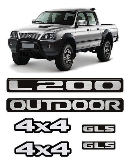 Kit Emblemas Mitsubishi L200 2011 Outdoor 4x4 Gls Resinado