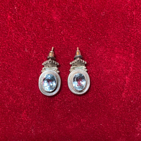 Aretes De Plata Con Cristales Azules