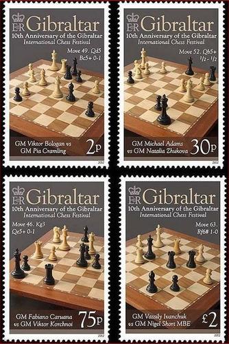 2012 Juegos- Festival Ajedrez - Gibraltar (sellos) Mint
