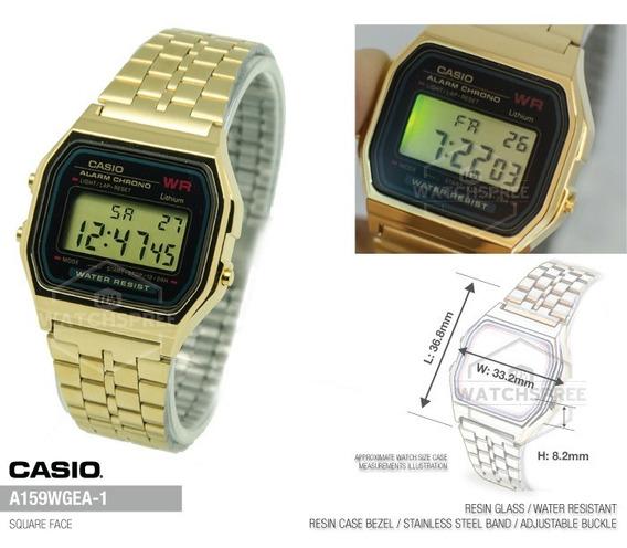 Relógio Casio Vintage Unissex Retro A159 Dourado - Original