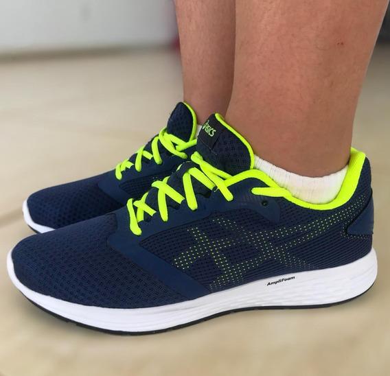 Tênis Masculino Asics Running Patriot 10a-azul Esc/vde Limão