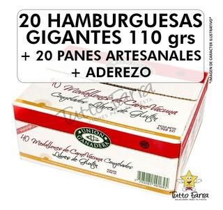 20 Hamburguesas Gigante Unión Ganadera Con Pan + Aderezo !!