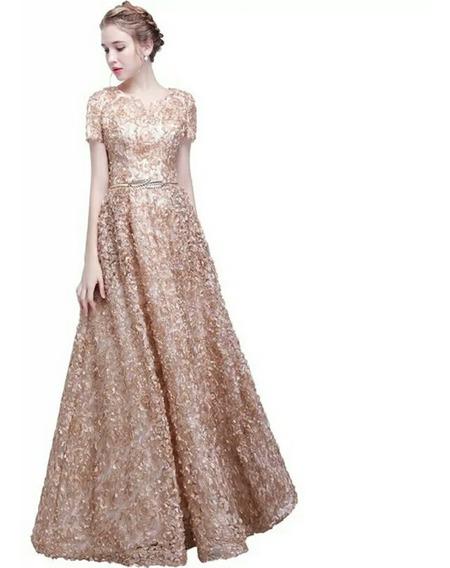 Vestido Fiesta Noche Largo, Dorado Envio Gratis! E-180102006