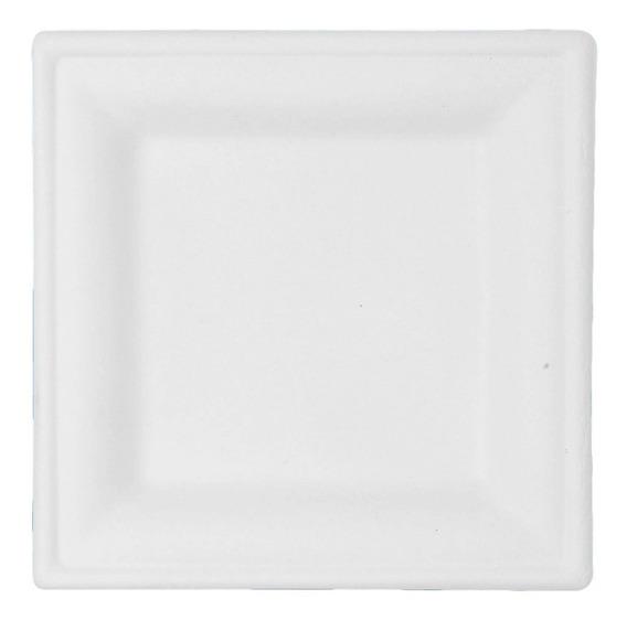 50 Pz Plato Desechable Biodegradable 15.2 Cm Cuadrado Blanco