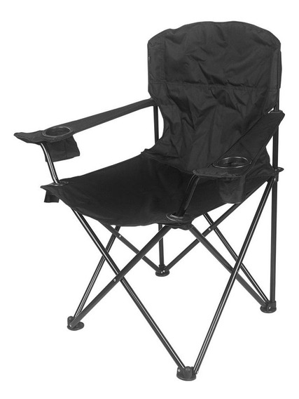 Cadeira Dobrável C/ 2 Porta-copos Preta Pandera Nautika
