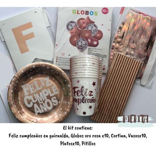 Kit De Decoracion Cumpleaños Oro Rosa Guirnalda Celebración