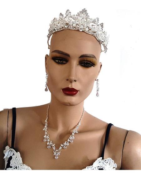 Cristales Collar Aretes Y Corona Novias Xv Años Fiesta Boda