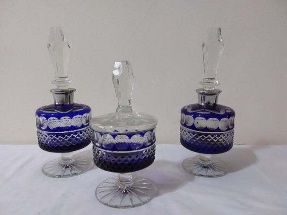 Juego De Perfumero Antiguo 3 Piezas Tallados Azules Hermoso