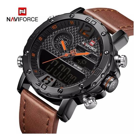 Relógio Naviforce Militar Masculino Esportivo Pulseira Couro