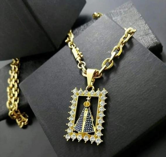 Cordão Cartier Banhado A Ouro 18k + Pingente Santa +pulseira