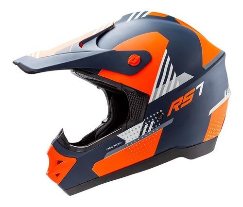 Imagen 1 de 4 de Casco Moto Motocross Hawk Rs7-f Naranja Negro Solomototeam