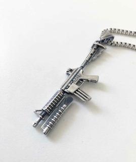 Dije Collar Fusil M16 Fortnite-acero Quirurgico Macizo Unico