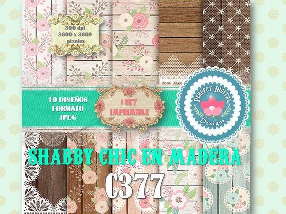 Kit Imprimible Texturas Madera Vintage Shabby 15 Sets Alta R