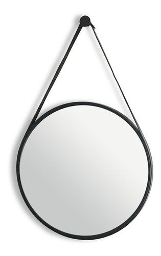 Espelho Adnet Redondo Decorativo Alça Couro Arquiteto Parede