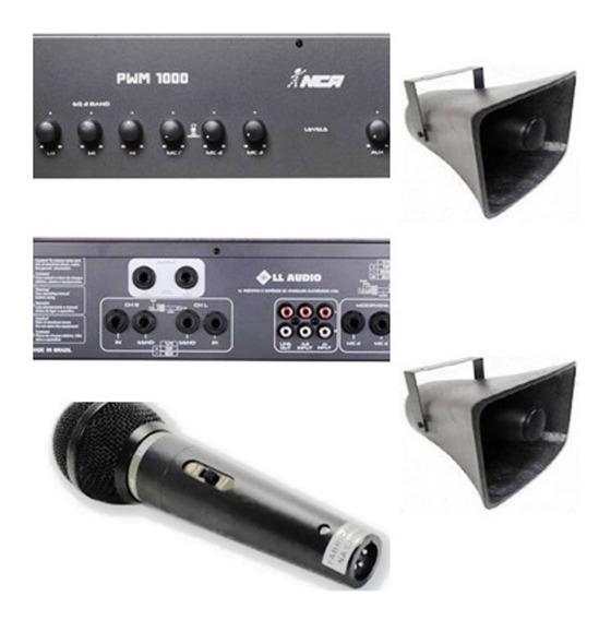 Corneta Balde Fibrasom G085 (2pç) + Amplificador + Microfone