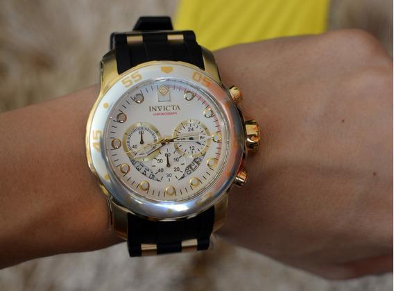 Relógio Invicta Pro Diver 6985 Prata Dourado Ouro 18k