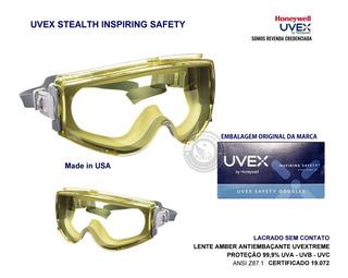 Óculos Epi Proteção Stealth Lente Amber Antiembaçante Uvex