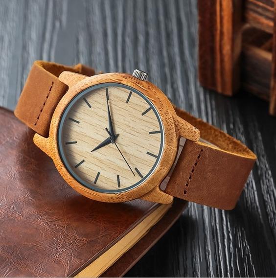 Reloj Bambú Hombre Caballero Estilo Minimalista