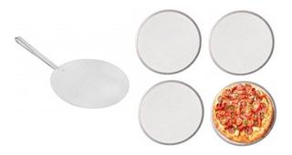 Kit 1 Pá De Pizza 35cm + 4 Telas De Pizza 35cm Em Alumínio