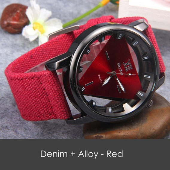 Relógio Denim Quartz Alloy - Vermelho- Analógico