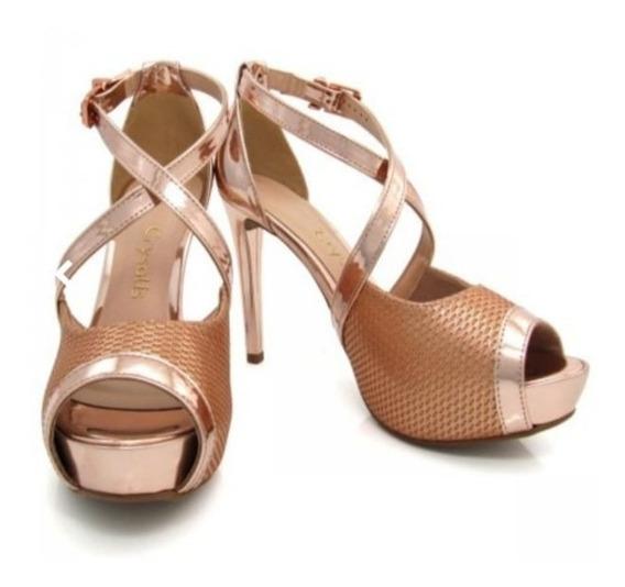 Sandália Salto Fino Ouro Rosa Crysalis