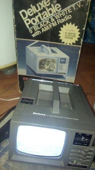 Deluxe Portable Tv 5 Pol Com Radio Am E Fm C Caixa Fuciona