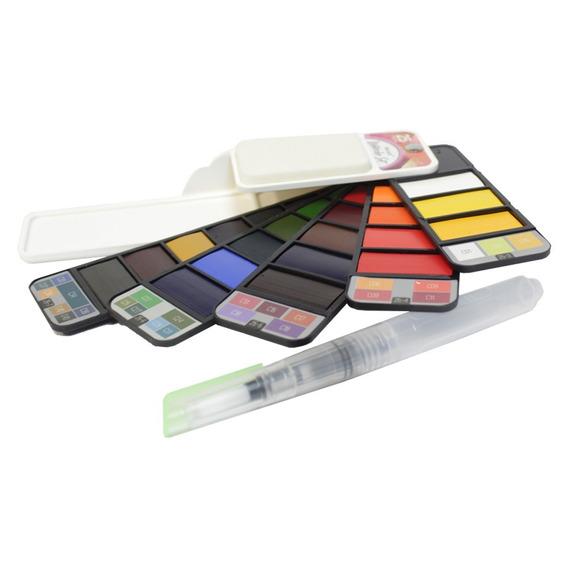 Estojo Aquarela Pastilhas 25 Cores Sinoart Watercolour Set