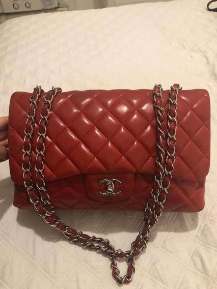 Bolsa Chanel Jumbo Autêntica Vermelha