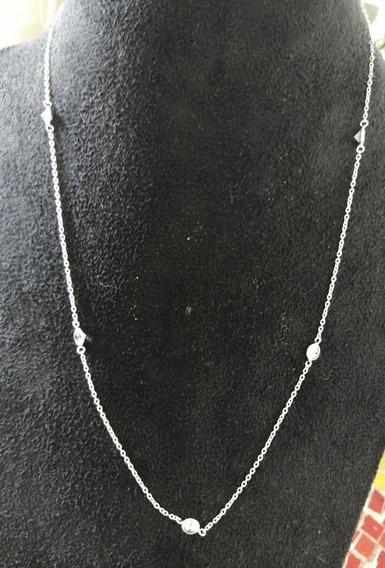 Colar Zirconia Branca 50cm Prata Maciça 925 7 Zirconias