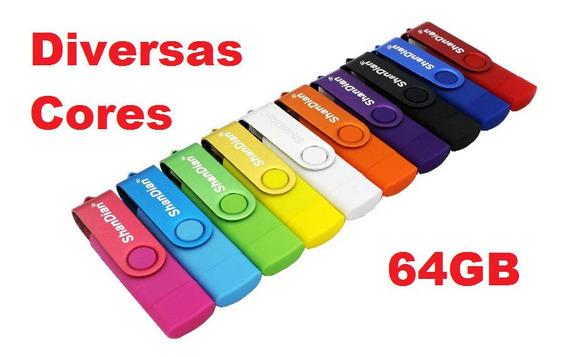 Pen Drive Para Celular 64gb Otg Usb E Micro Usb