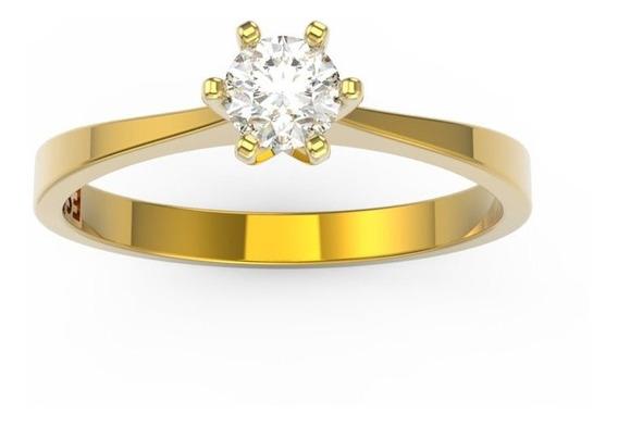 Anel De Noivado Ouro Amarelo E Diamante 20 Pontos - Love 20