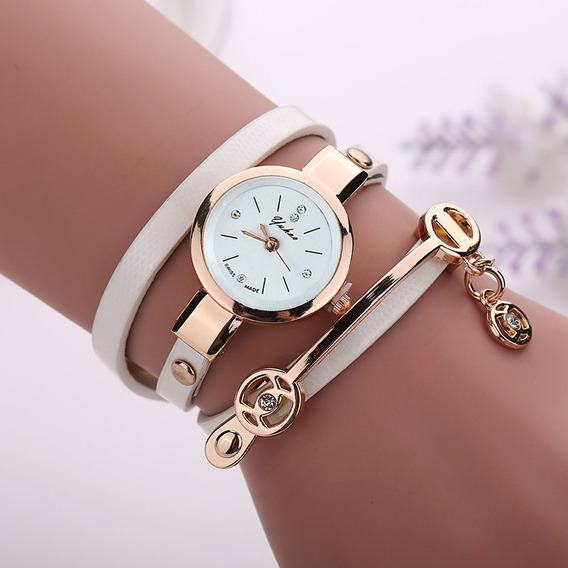 Kit 3 Relógios Feminino Bracelete Corrente Pulseira De Couro