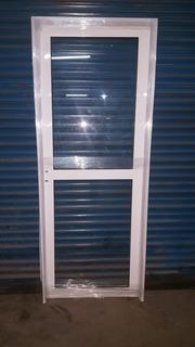 Puerta Aluminio Blanco Vidrio Entero C Travesaño De 80 X 200
