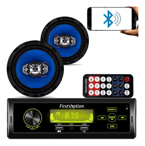 Kit Som Carro Radio Mp3 Bluetooth Usb + 2 Auto Falante 6 Pol