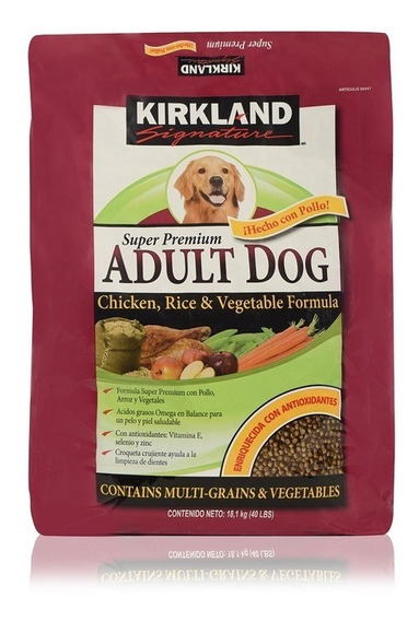 Croquetas Premium Kirkland Alimento Pollo Y Arroz 18.1 Kg