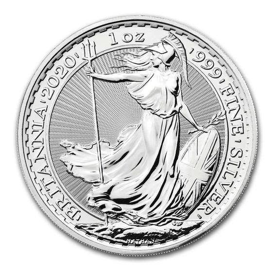 1 Onza De Plata Fina .999 Gran Bretaña 2 Libras Sc 2020
