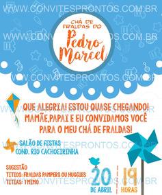 Convite Digital Cha De Fraldas Pipa Cata Vento Balão